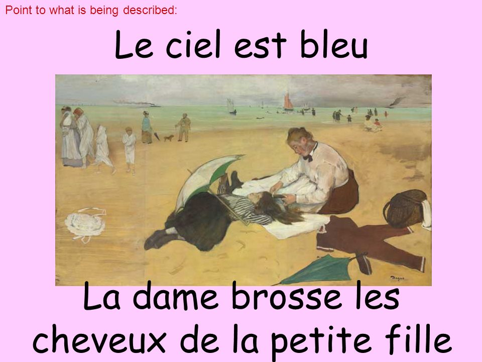 regarde Que fait le chien? homme Le. click on and rearrange the words l chien