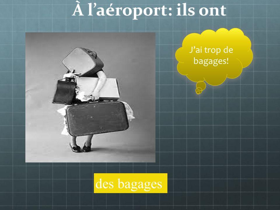 À laéroport: que font-ils Ils enregistrent leurs bagages au comptoir