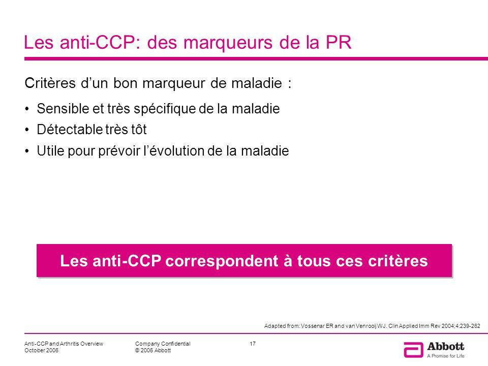Anti-CCP and Arthritis Overview October 2006 17Company Confidential © 2006 Abbott Les anti-CCP: des marqueurs de la PR Critères dun bon marqueur de ma