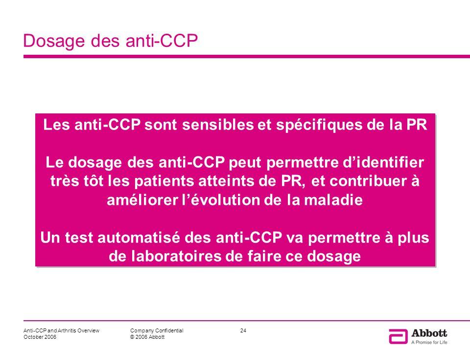 Anti-CCP and Arthritis Overview October 2006 24Company Confidential © 2006 Abbott Dosage des anti-CCP Les anti-CCP sont sensibles et spécifiques de la