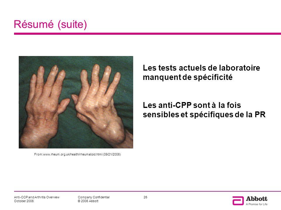 Anti-CCP and Arthritis Overview October 2006 26Company Confidential © 2006 Abbott Résumé (suite) Les tests actuels de laboratoire manquent de spécific