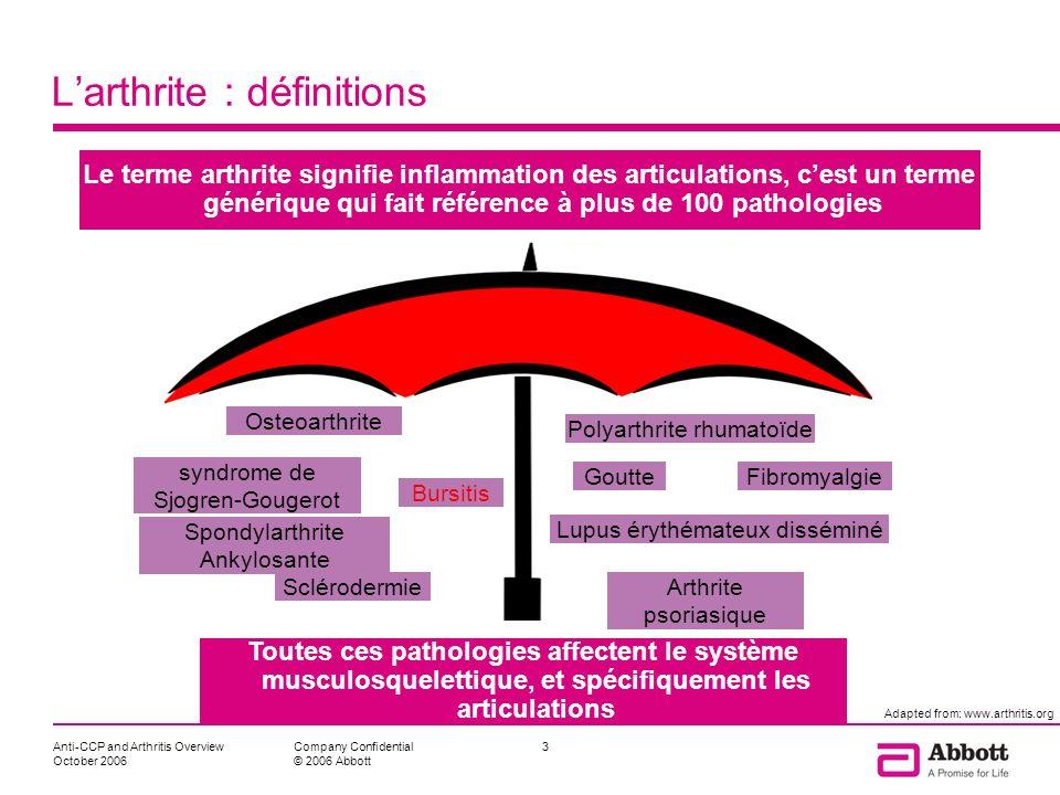 Anti-CCP and Arthritis Overview October 2006 14Company Confidential © 2006 Abbott Il est essentiel de diagnostiquer précocement les patients atteints de PR, et didentifier les plus à risque de développer des érosions sévères