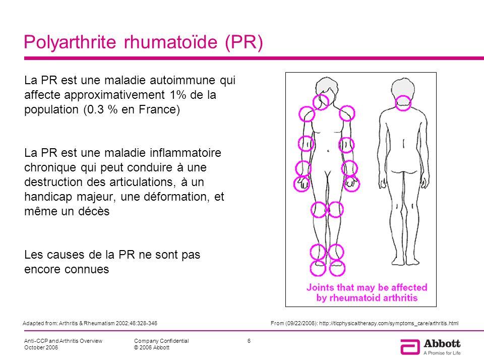 Anti-CCP and Arthritis Overview October 2006 6Company Confidential © 2006 Abbott Polyarthrite rhumatoïde (PR) La PR est une maladie autoimmune qui aff