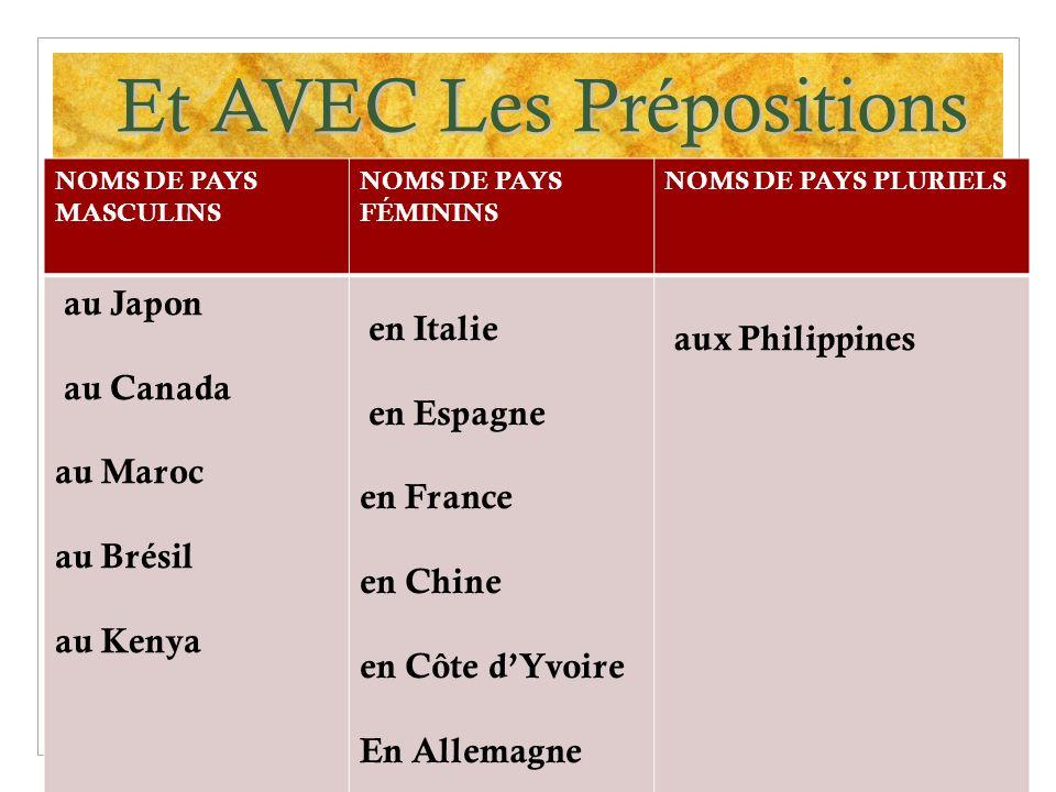 Et AVEC Les Prépositions NOMS DE PAYS MASCULINS NOMS DE PAYS FÉMININS NOMS DE PAYS PLURIELS au Japon au Canada au Maroc au Brésil au Kenya en Italie e