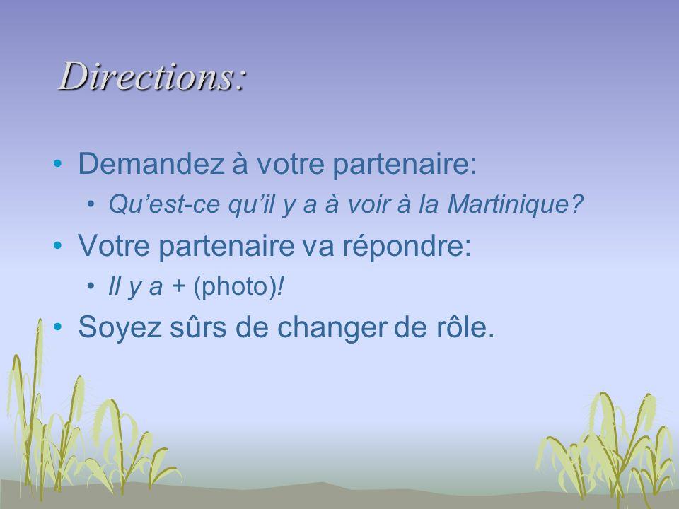Directions: Demandez à votre partenaire: Quest-ce quil y a à voir à la Martinique.