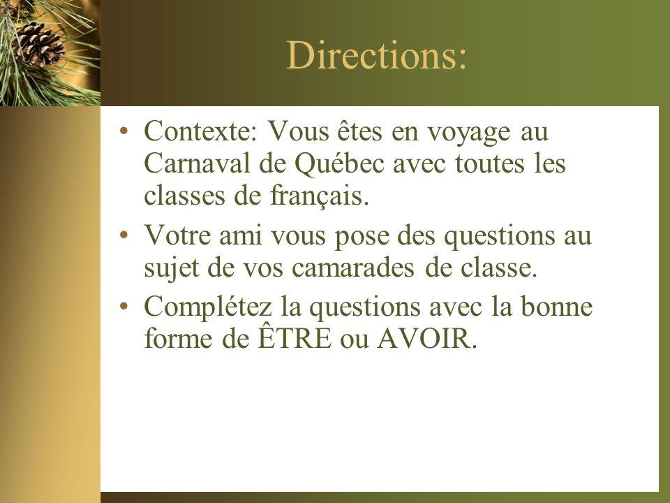 Directions: Contexte: Vous êtes en voyage au Carnaval de Québec avec toutes les classes de français.