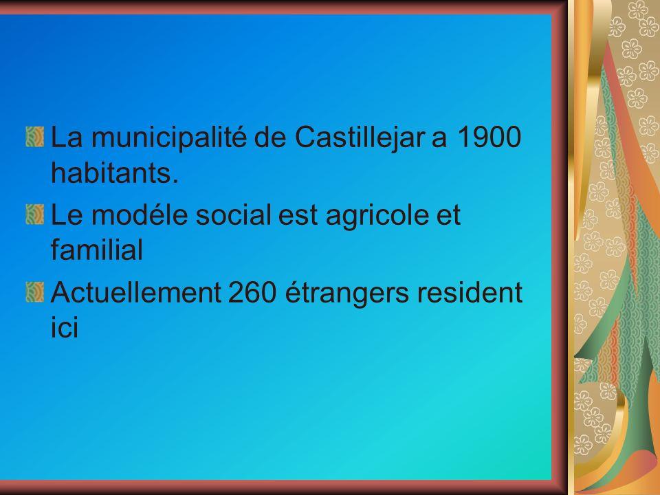 La municipalité de Castillejar a 1900 habitants. Le modéle social est agricole et familial Actuellement 260 étrangers resident ici