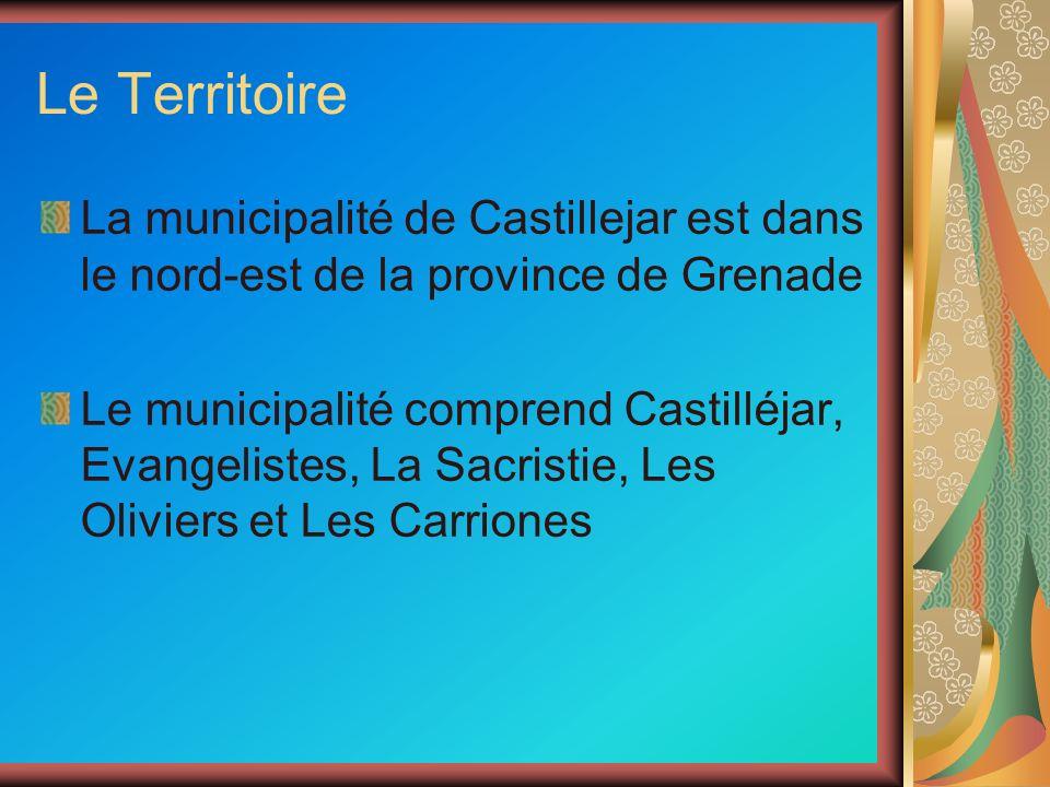 Le Territoire La municipalité de Castillejar est dans le nord-est de la province de Grenade Le municipalité comprend Castilléjar, Evangelistes, La Sacristie, Les Oliviers et Les Carriones