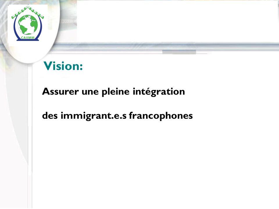 Inserer logo du CAIM ( a faire) Vision: Assurer une pleine intégration des immigrant.e.s francophones