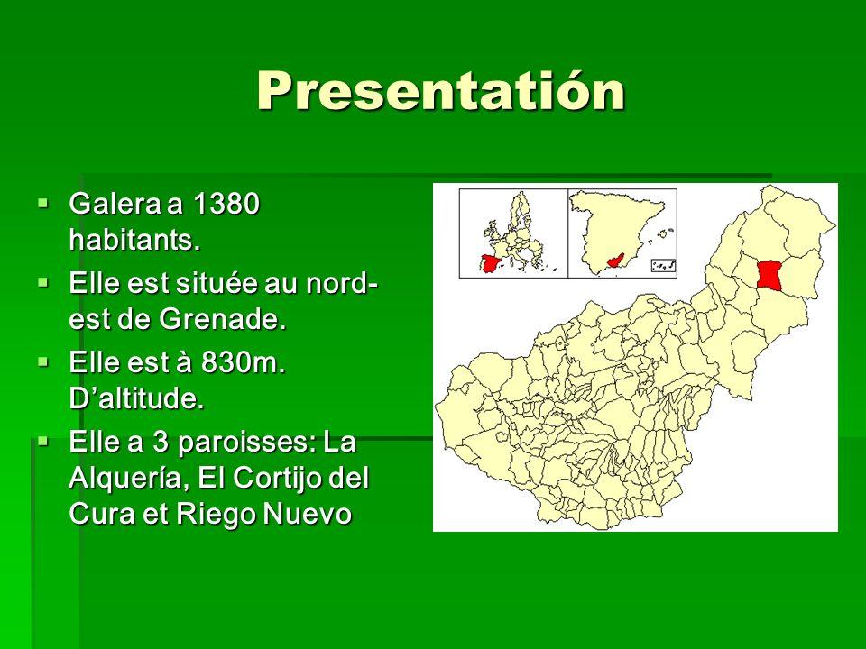 Presentatión Galera a 1380 habitants. Galera a 1380 habitants. Elle est située au nord- est de Grenade. Elle est située au nord- est de Grenade. Elle