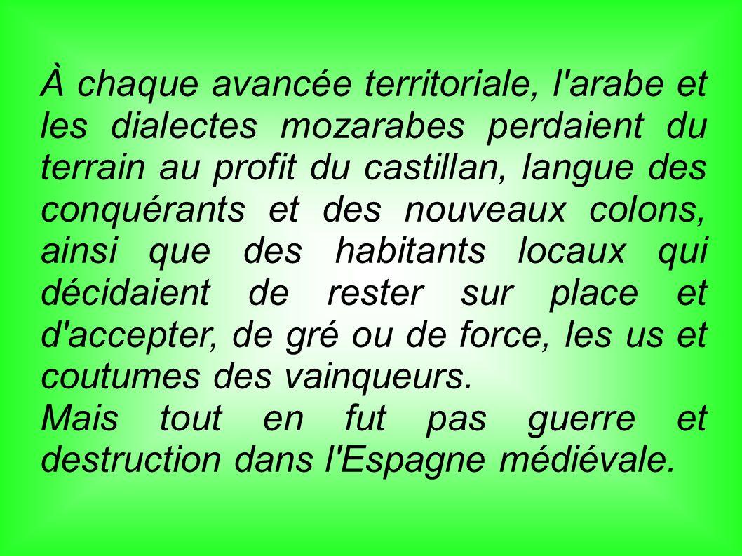 À chaque avancée territoriale, l'arabe et les dialectes mozarabes perdaient du terrain au profit du castillan, langue des conquérants et des nouveaux