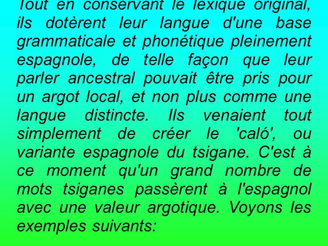 Tout en conservant le lexique original, ils dotèrent leur langue d'une base grammaticale et phonétique pleinement espagnole, de telle façon que leur p
