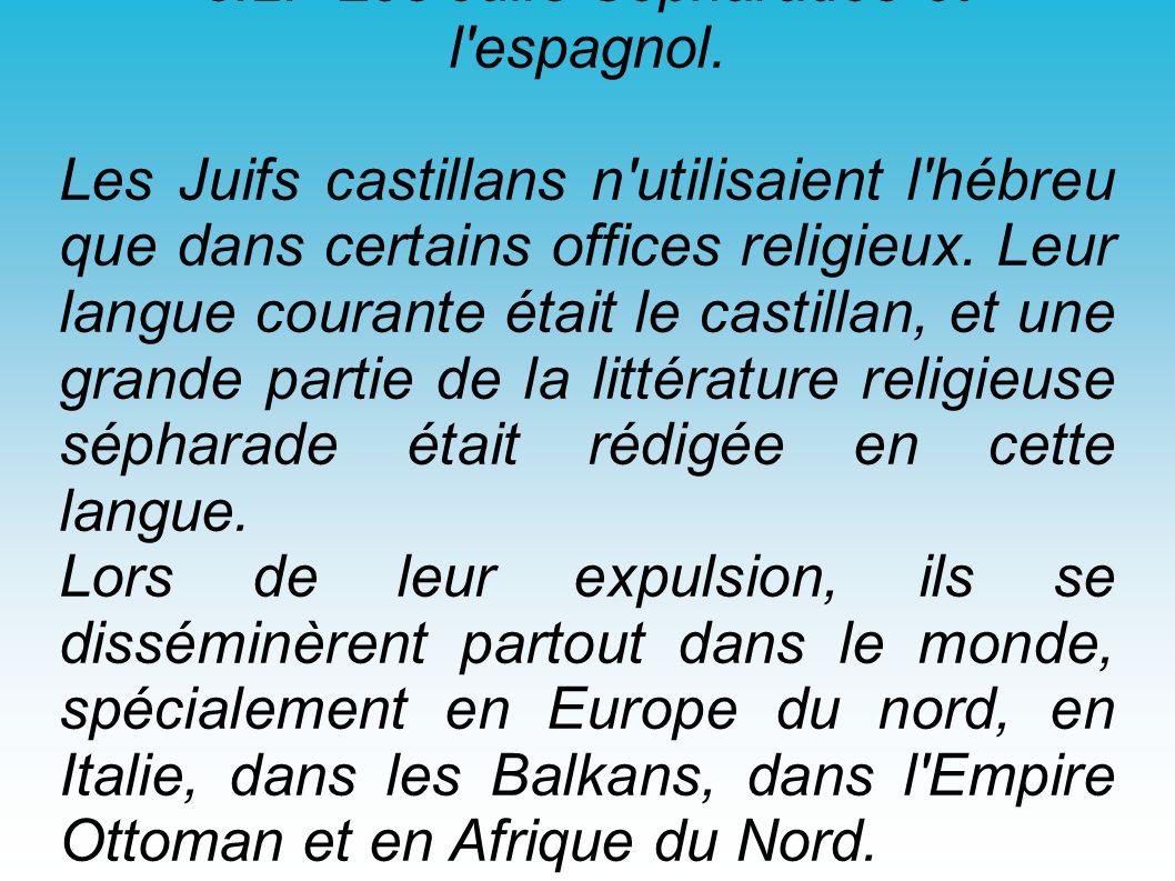3.2.- Les Juifs Sépharades et l'espagnol. Les Juifs castillans n'utilisaient l'hébreu que dans certains offices religieux. Leur langue courante était