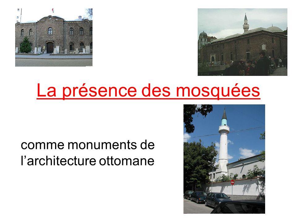 Les qualités architecturales Parmi les nombreuses mosquées construites dans les terres bulgares celles qui ont des qualités architecturales incontestables sont: la mosquée Dzhumaya à Plovdiv, un exemple de la mosquée aux plusieurs coupoles apporté d Orient; la mosquée Tombul à Shumen, créée après le XVIe siècle, un type de mosquée en forme de dôme central et salle de bain, la mosquée Bashi à Sofia.