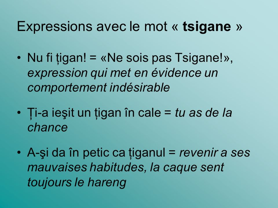Expressions avec le mot « tsigane » Nu fi ţigan! = «Ne sois pas Tsigane!», expression qui met en évidence un comportement indésirable Ţi-a ieşit un ţi