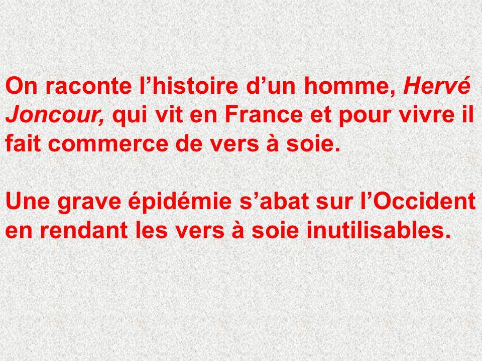 On raconte lhistoire dun homme, Hervé Joncour, qui vit en France et pour vivre il fait commerce de vers à soie.