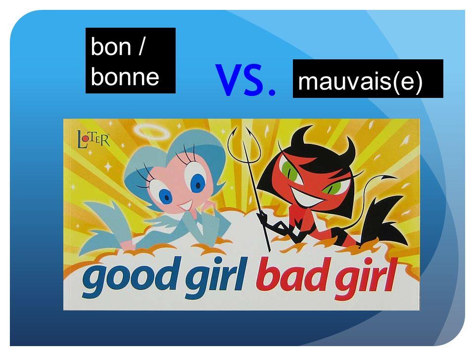bon / bonne VS. mauvais(e)