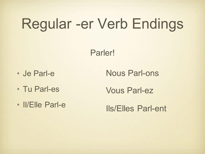 Regular -er Verb Endings Je Parl-e Tu Parl-es Il/Elle Parl-e Nous Parl-ons Vous Parl-ez Ils/Elles Parl-ent Parler!