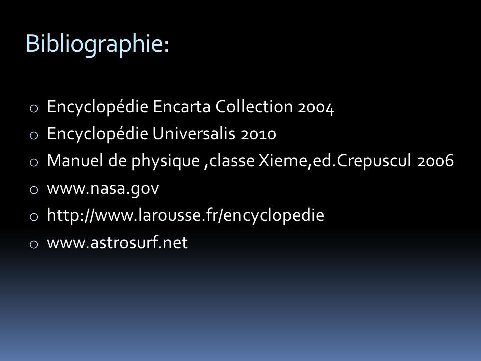Bibliographie: o Encyclopédie Encarta Collection 2004 o Encyclopédie Universalis 2010 o Manuel de physique,classe Xieme,ed.Crepuscul 2006 o www.nasa.gov o http://www.larousse.fr/encyclopedie o www.astrosurf.net