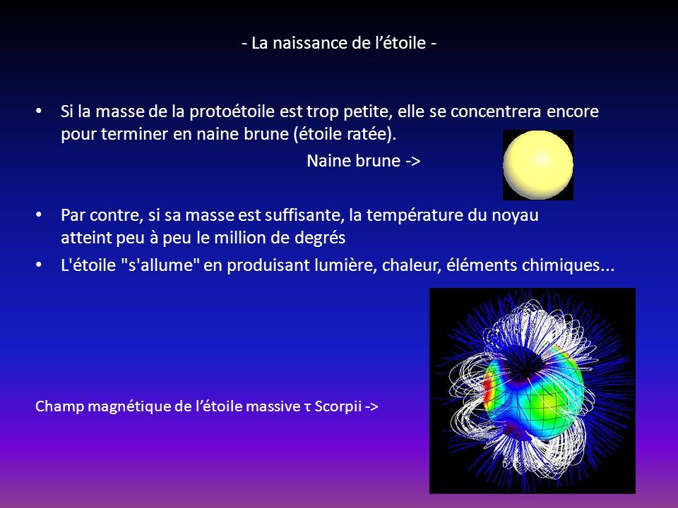 - La naissance de létoile - Une étoile est nait de la contraction dun nuage riche en hydrogène.