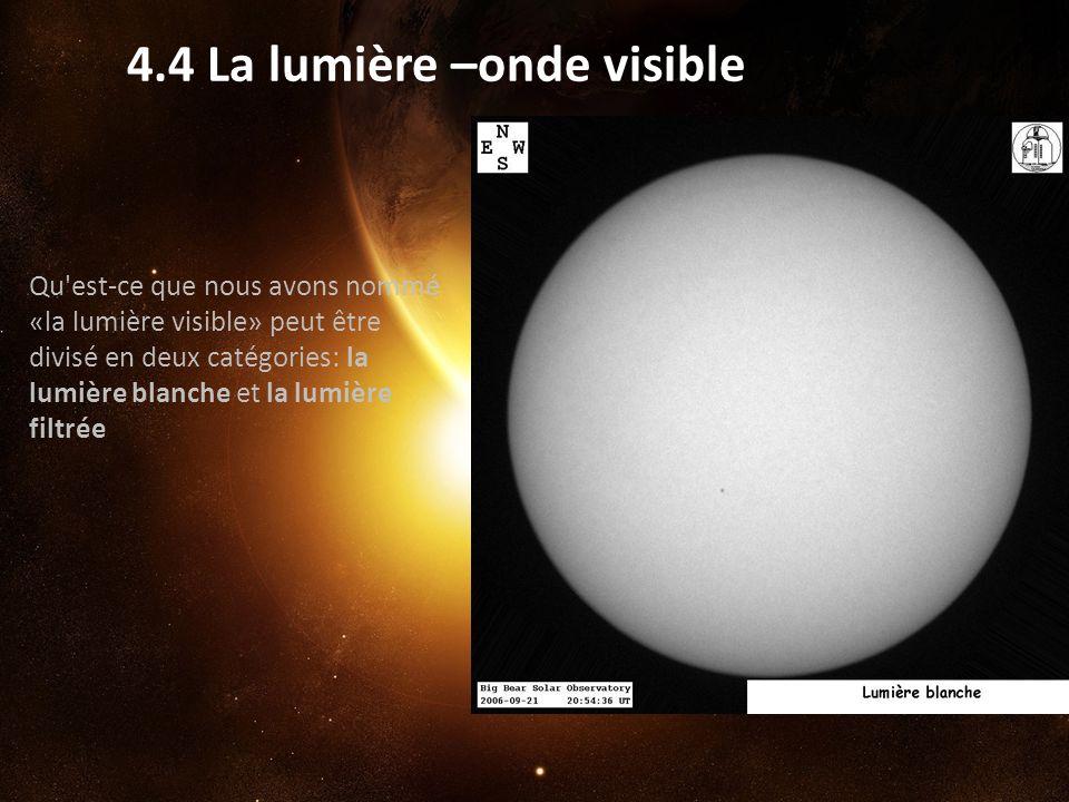 4.4 La lumière –onde visible Qu'est-ce que nous avons nommé «la lumière visible» peut être divisé en deux catégories: la lumière blanche et la lumière