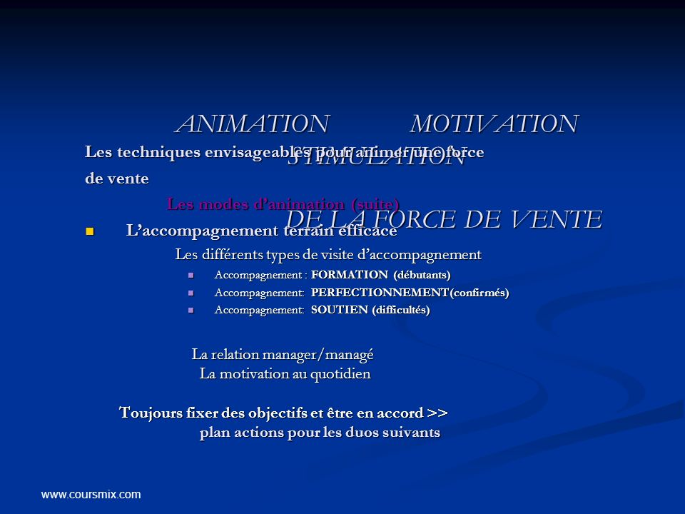 www.coursmix.com ANIMATION MOTIVATION STIMULATION DE LA FORCE DE VENTE ANIMATION MOTIVATION STIMULATION DE LA FORCE DE VENTE Les techniques envisageab