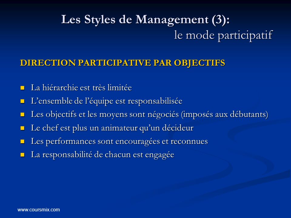 www.coursmix.com Les Styles de Management (3): le mode participatif DIRECTION PARTICIPATIVE PAR OBJECTIFS DIRECTION PARTICIPATIVE PAR OBJECTIFS La hié