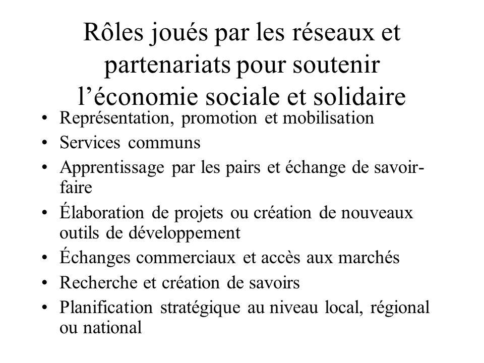 Rôles joués par les réseaux et partenariats pour soutenir léconomie sociale et solidaire Représentation, promotion et mobilisation Services communs Ap