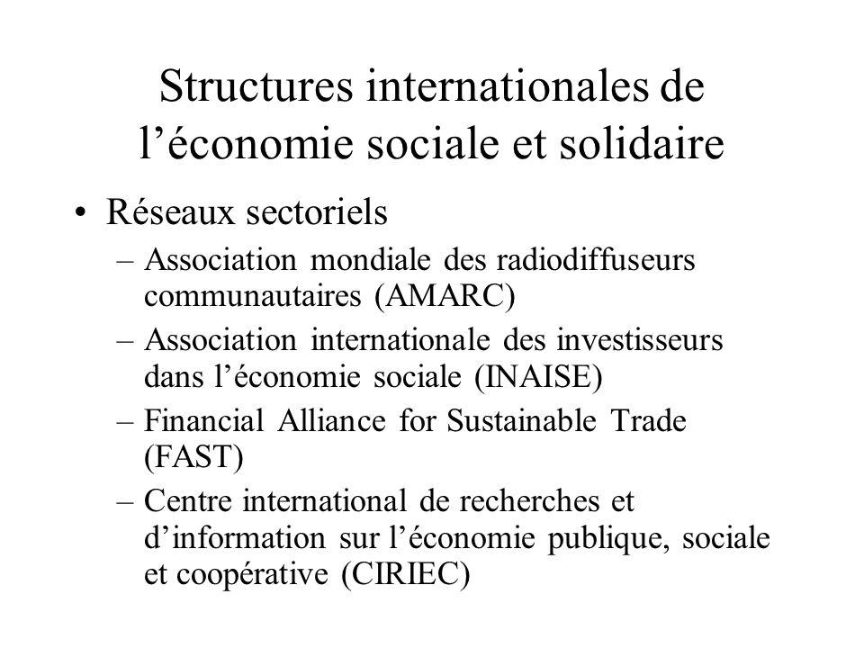 Structures internationales de léconomie sociale et solidaire Réseaux sectoriels –Association mondiale des radiodiffuseurs communautaires (AMARC) –Asso