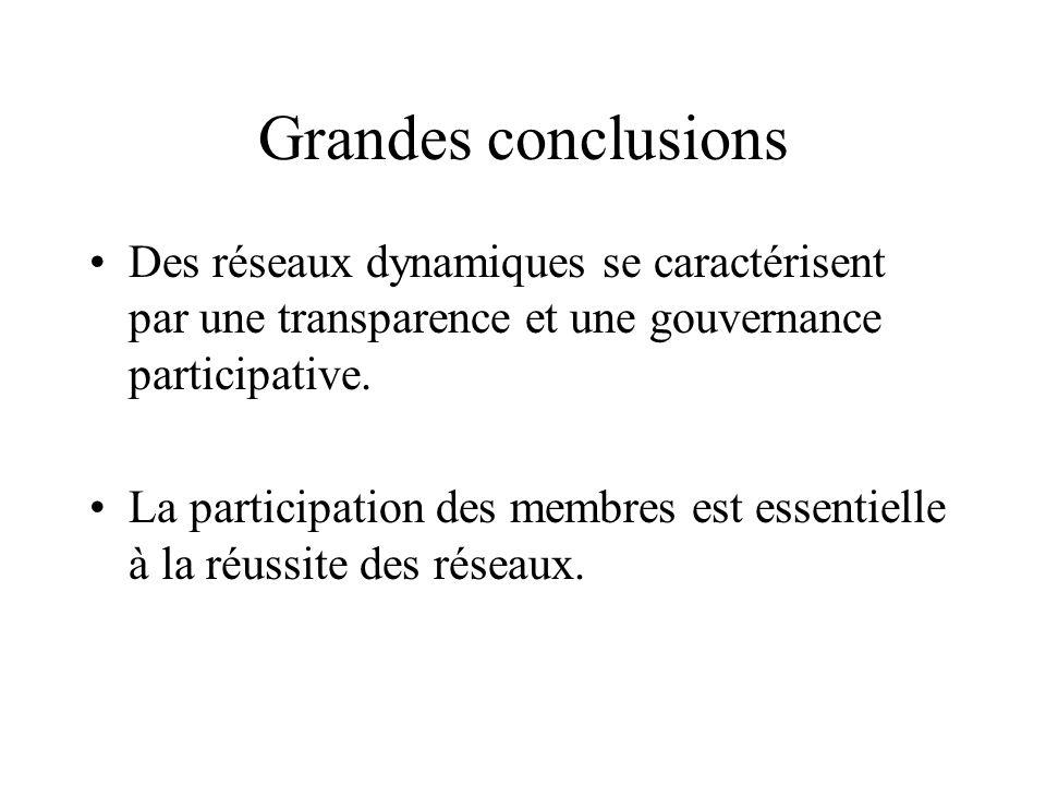 Grandes conclusions Des réseaux dynamiques se caractérisent par une transparence et une gouvernance participative. La participation des membres est es