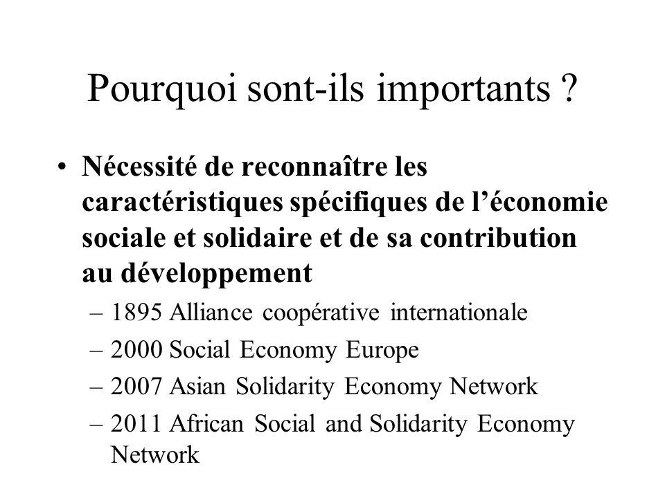 Pourquoi sont-ils importants ? Nécessité de reconnaître les caractéristiques spécifiques de léconomie sociale et solidaire et de sa contribution au dé