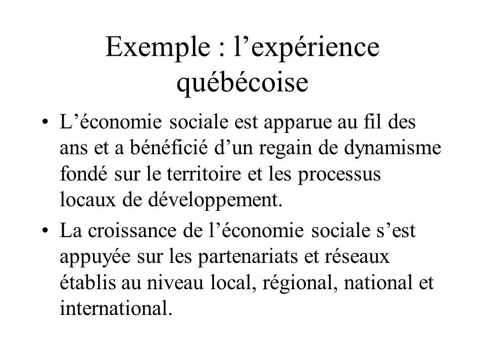 Exemple : lexpérience québécoise Léconomie sociale est apparue au fil des ans et a bénéficié dun regain de dynamisme fondé sur le territoire et les pr