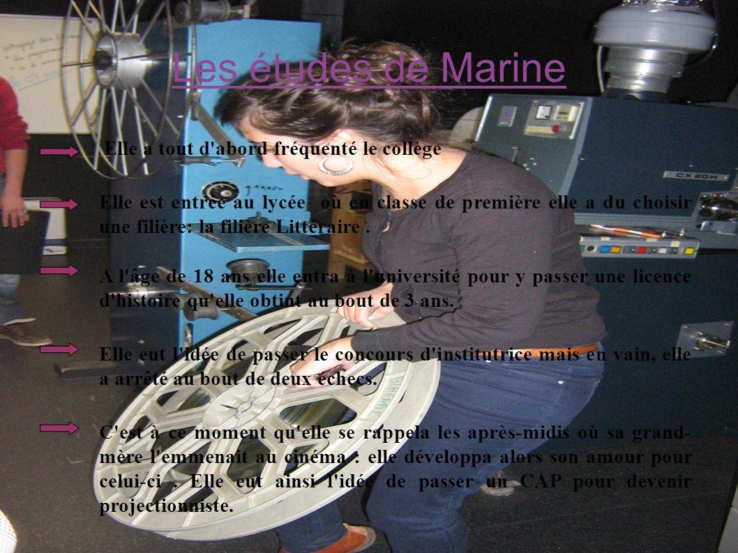 Les études de Marine Elle a tout d'abord fréquenté le collège Elle est entrée au lycée où en classe de première elle a du choisir une filière: la fili