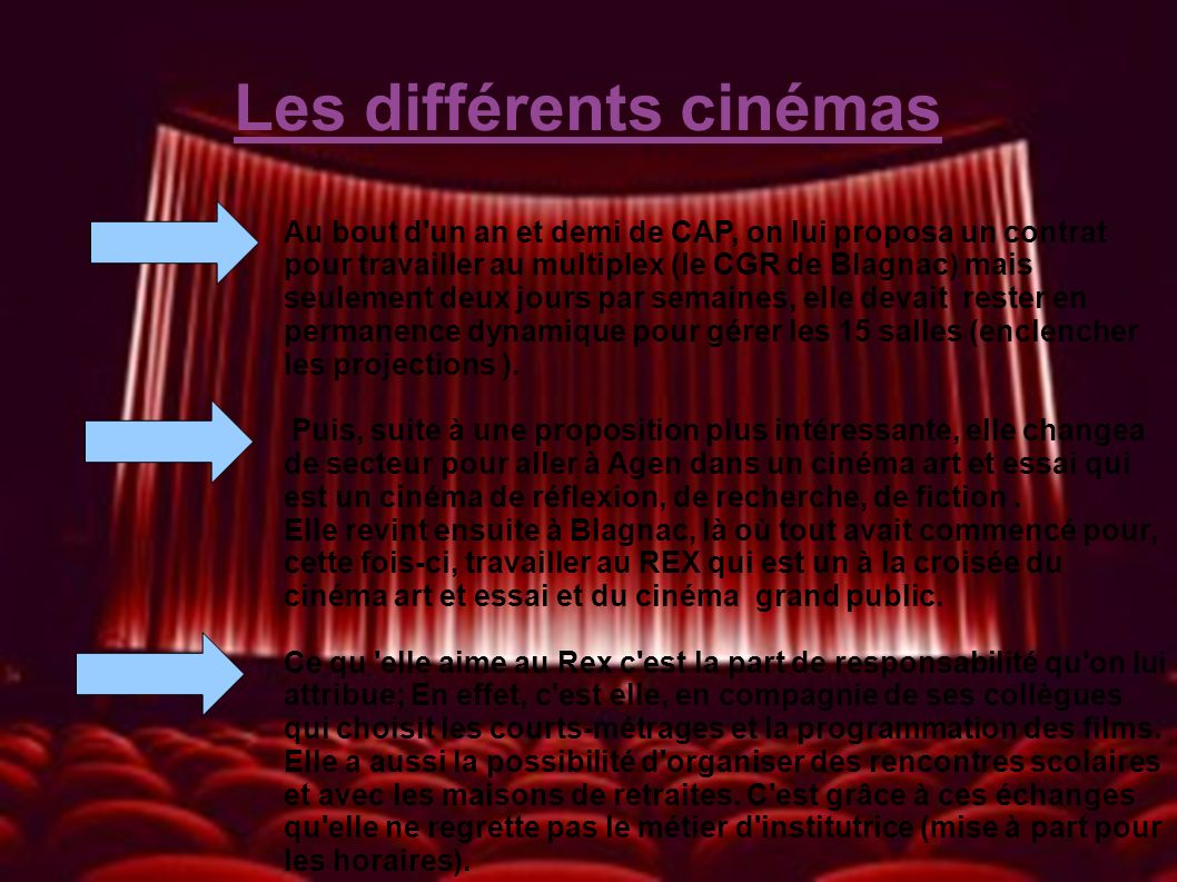 Les différents cinémas Au bout d'un an et demi de CAP, on lui proposa un contrat pour travailler au multiplex (le CGR de Blagnac) mais seulement deux