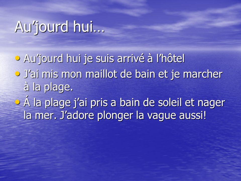 Aujourd hui… Aujourd hui je suis arrivé à lhôtel Aujourd hui je suis arrivé à lhôtel Jai mis mon maillot de bain et je marcher à la plage. Jai mis mon