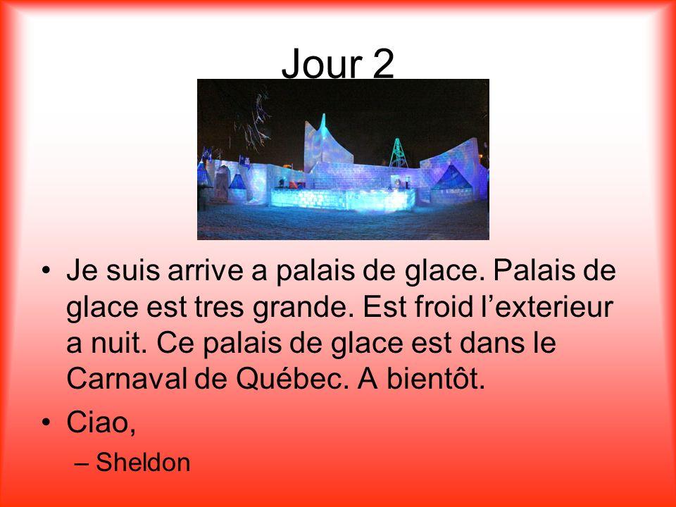 Jour 2 Je suis arrive a palais de glace. Palais de glace est tres grande.