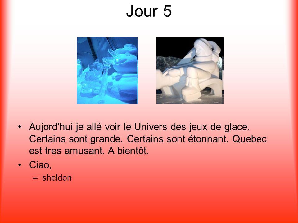 Jour 5 Aujordhui je allé voir le Univers des jeux de glace. Certains sont grande. Certains sont étonnant. Quebec est tres amusant. A bientôt. Ciao, –s