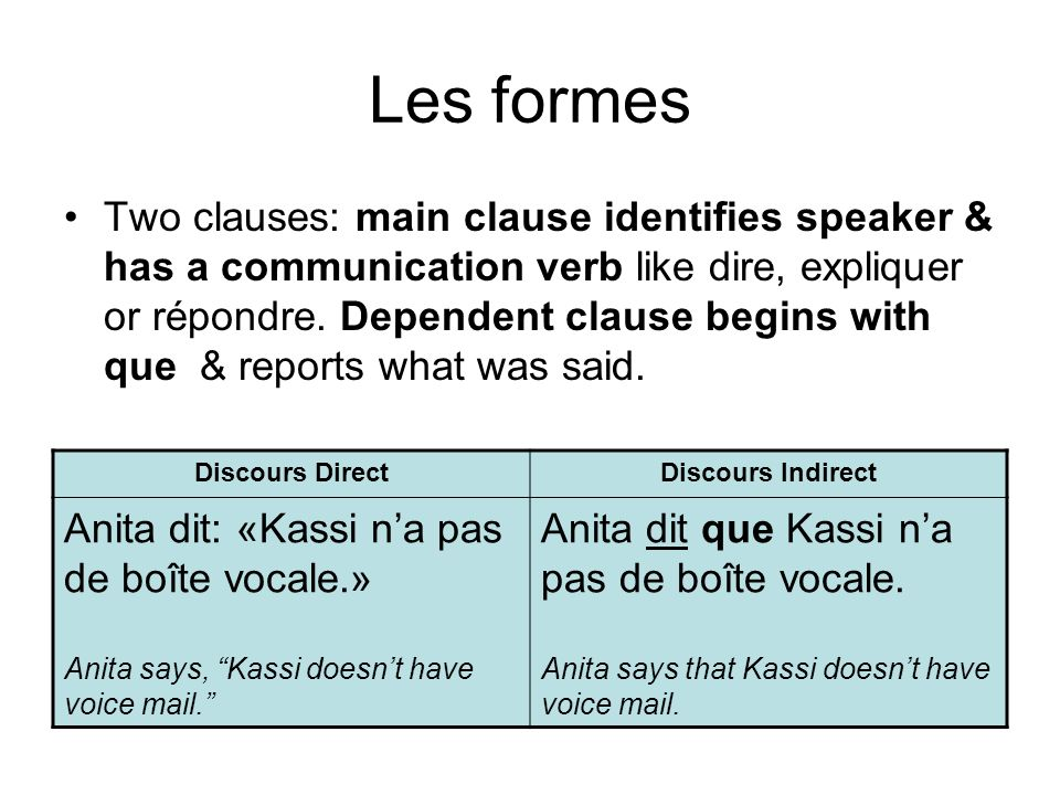 Les formes Indirect discourse questions also have two clauses: main clause identifies speaker & uses interrogation verb such as (se) demander or vouloir savoir.