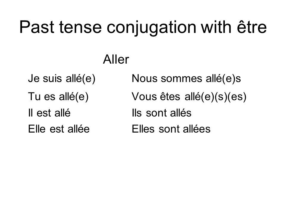 Past tense conjugation with être Aller Je suis allé(e)Nous sommes allé(e)s Tu es allé(e)Vous êtes allé(e)(s)(es) Il est alléIls sont allés Elle est al