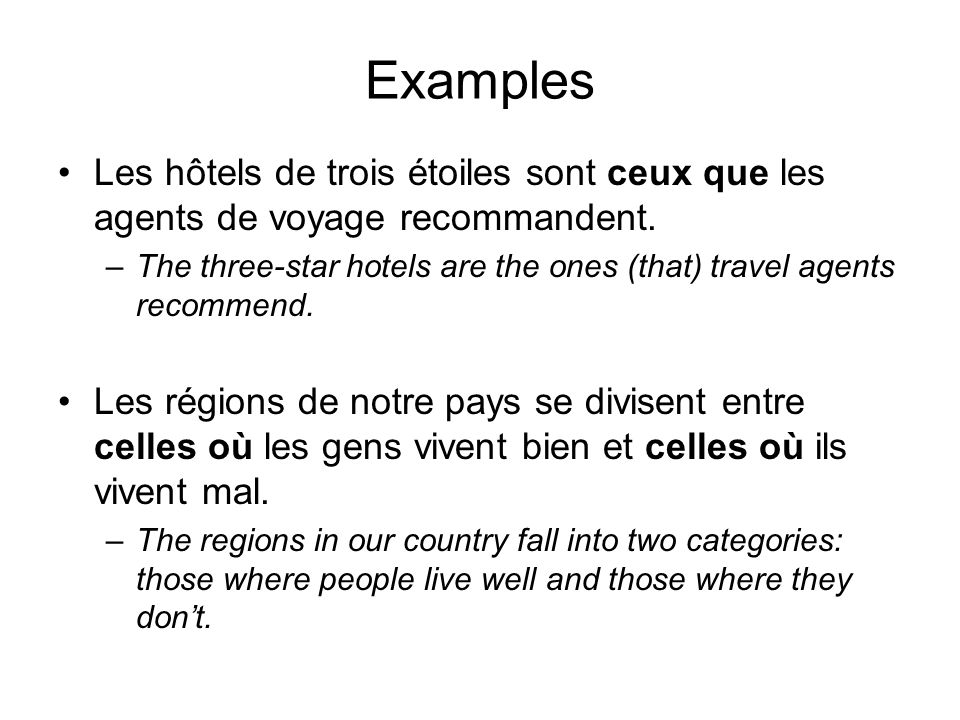 Examples Les hôtels de trois étoiles sont ceux que les agents de voyage recommandent. –The three-star hotels are the ones (that) travel agents recomme