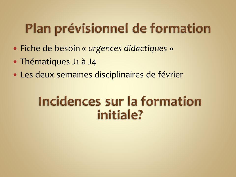 Fiche de besoin « urgences didactiques » Thématiques J1 à J4 Les deux semaines disciplinaires de février