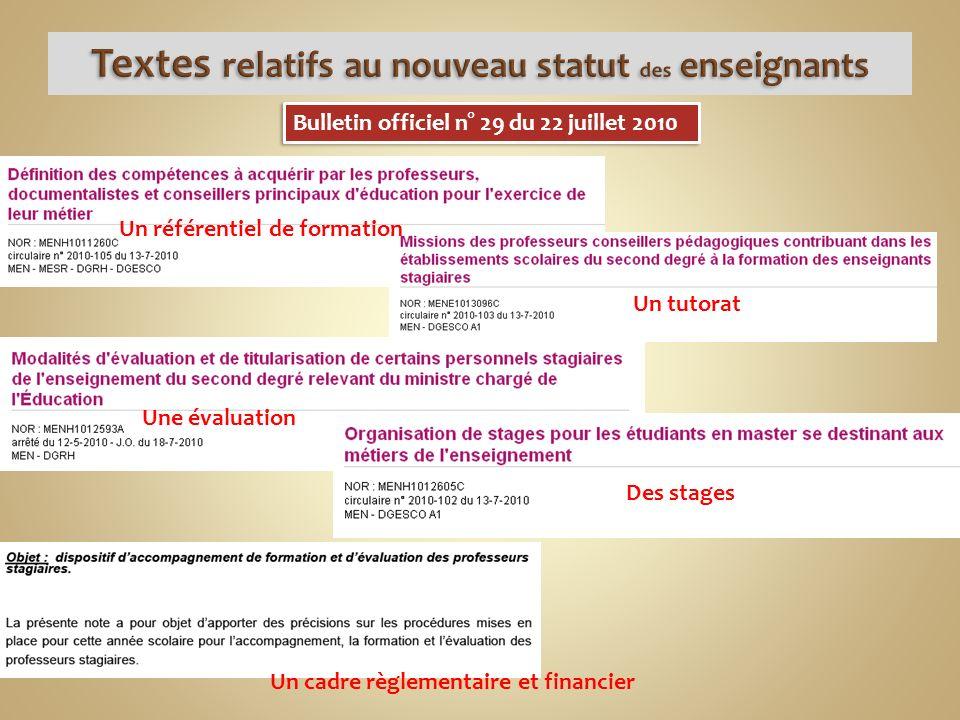 Bulletin officiel n° 29 du 22 juillet 2010 Un référentiel de formation Un tutorat Une évaluation Des stages Un cadre règlementaire et financier