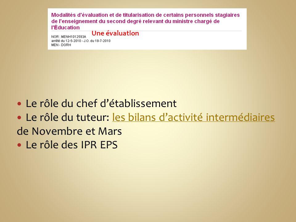Le rôle du chef détablissement Le rôle du tuteur: les bilans dactivité intermédiairesles bilans dactivité intermédiaires de Novembre et Mars Le rôle des IPR EPS Une évaluation