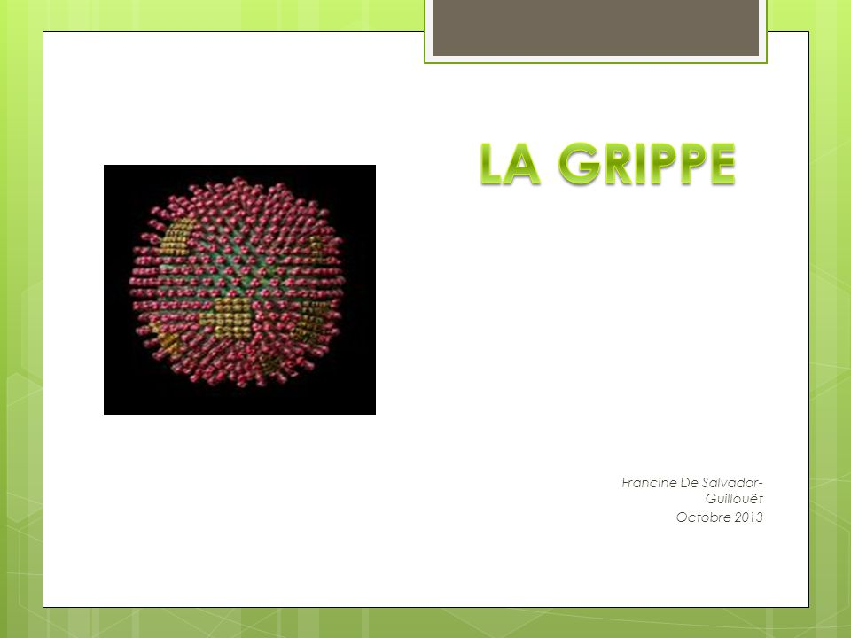 2 Les Virus de la Grippe Myxovirus influenzae, virus à ARN, non spécifiques de l homme 3 types majeurs : A (le plus virulent), B et C.