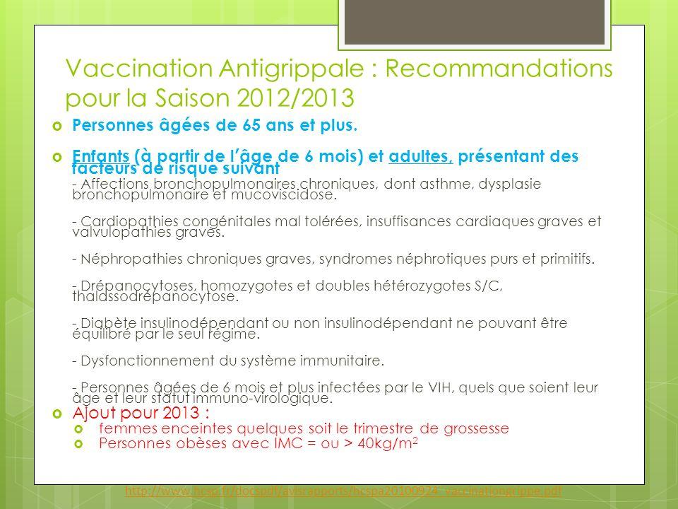 Vaccination Antigrippale : Recommandations pour la Saison 2012/2013 Personnes âgées de 65 ans et plus. Enfants (à partir de l âge de 6 mois) et adulte