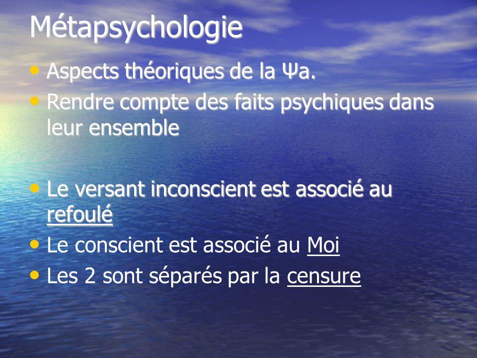 Métapsychologie Aspects théoriques de la Ψa. Aspects théoriques de la Ψa. Rendre compte des faits psychiques dans leur ensemble Rendre compte des fait