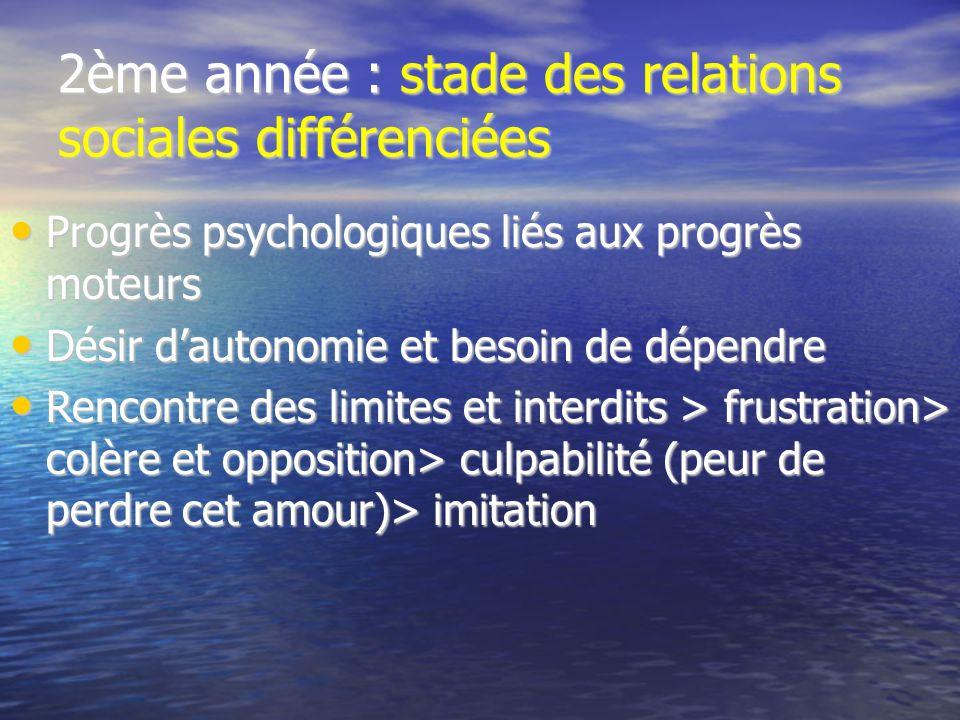 2ème année : stade des relations sociales différenciées Progrès psychologiques liés aux progrès moteurs Progrès psychologiques liés aux progrès moteur