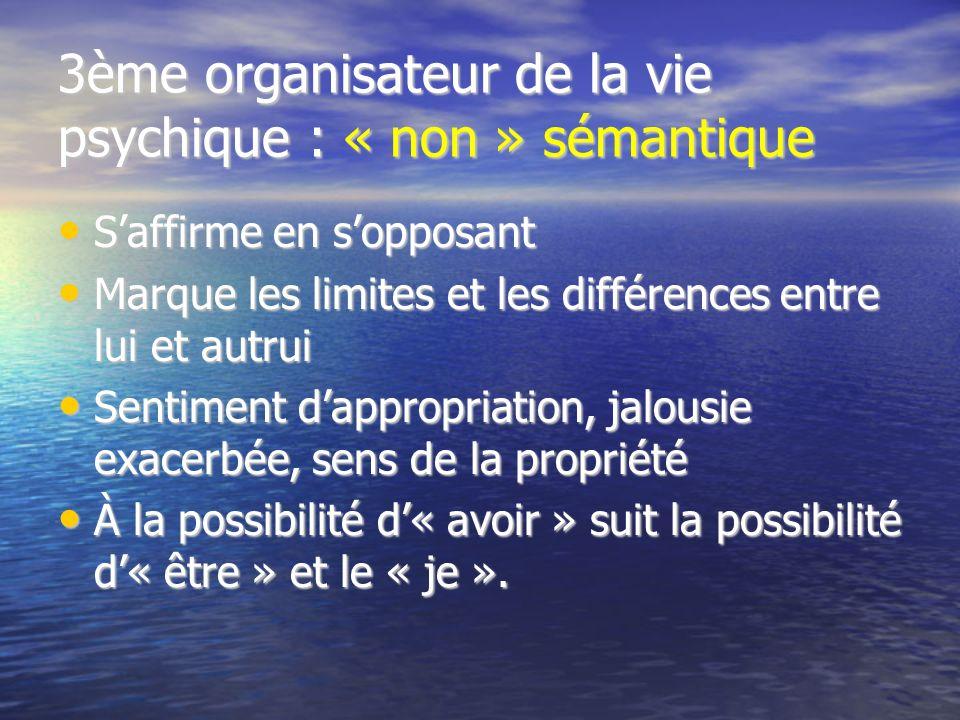 3ème organisateur de la vie psychique : « non » sémantique Saffirme en sopposant Saffirme en sopposant Marque les limites et les différences entre lui