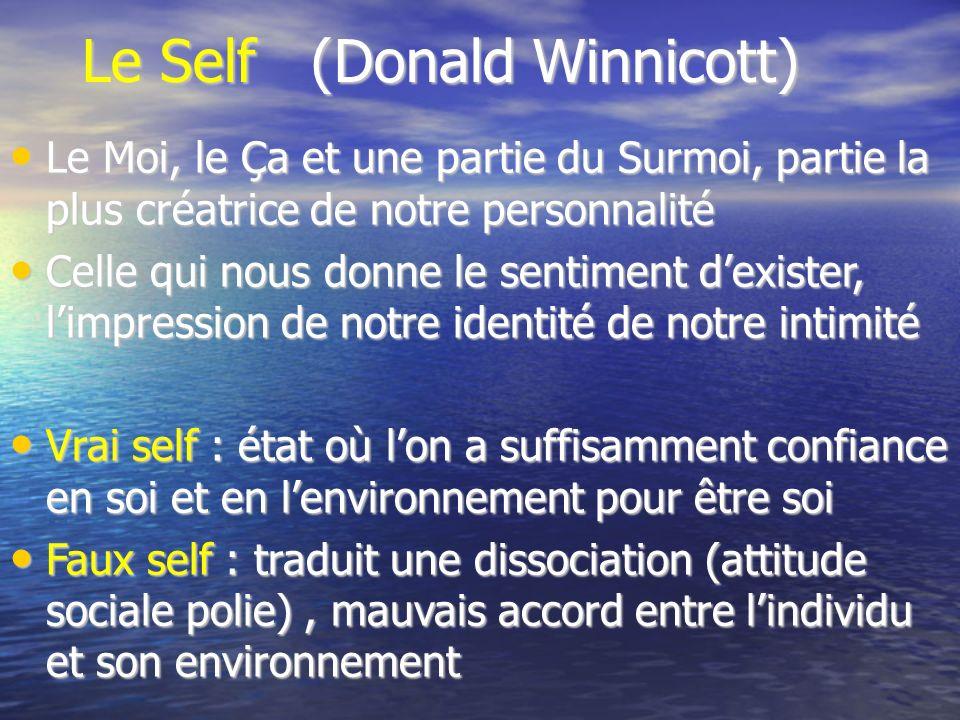 Le Self (Donald Winnicott) Le Moi, le Ça et une partie du Surmoi, partie la plus créatrice de notre personnalité Le Moi, le Ça et une partie du Surmoi