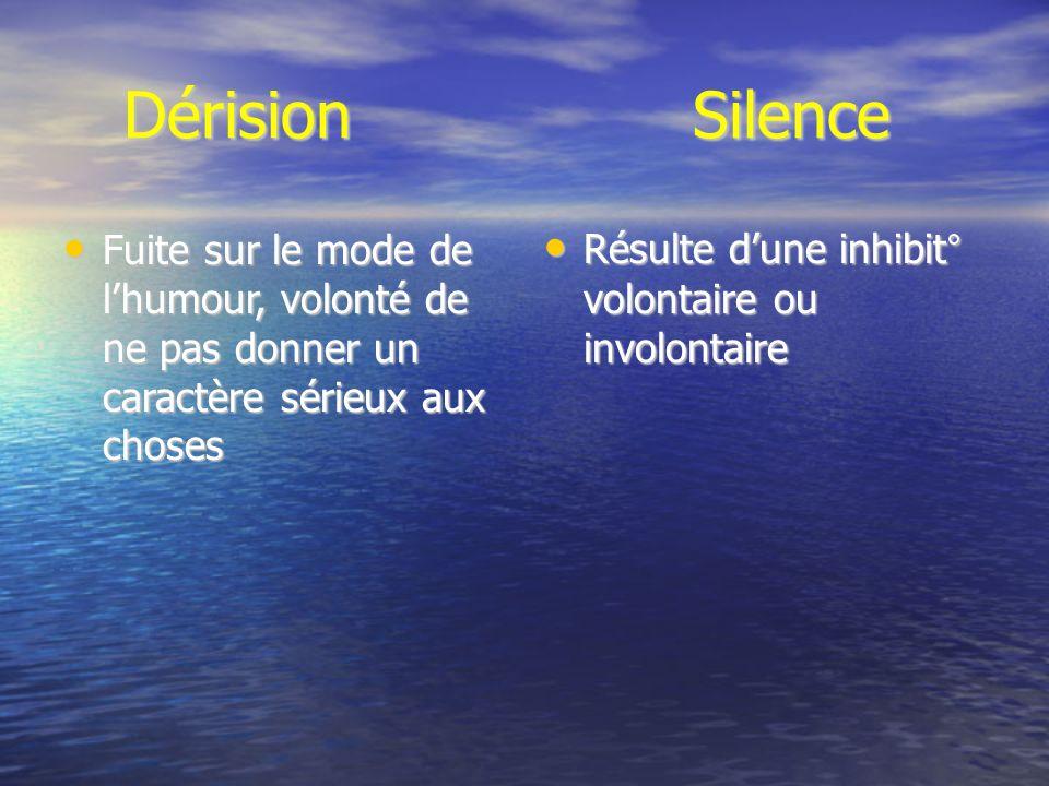 Dérision Silence Dérision Silence Fuite sur le mode de lhumour, volonté de ne pas donner un caractère sérieux aux choses Fuite sur le mode de lhumour,